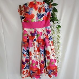 Alyn Paige Fit & Flare Strapless Floral Dress
